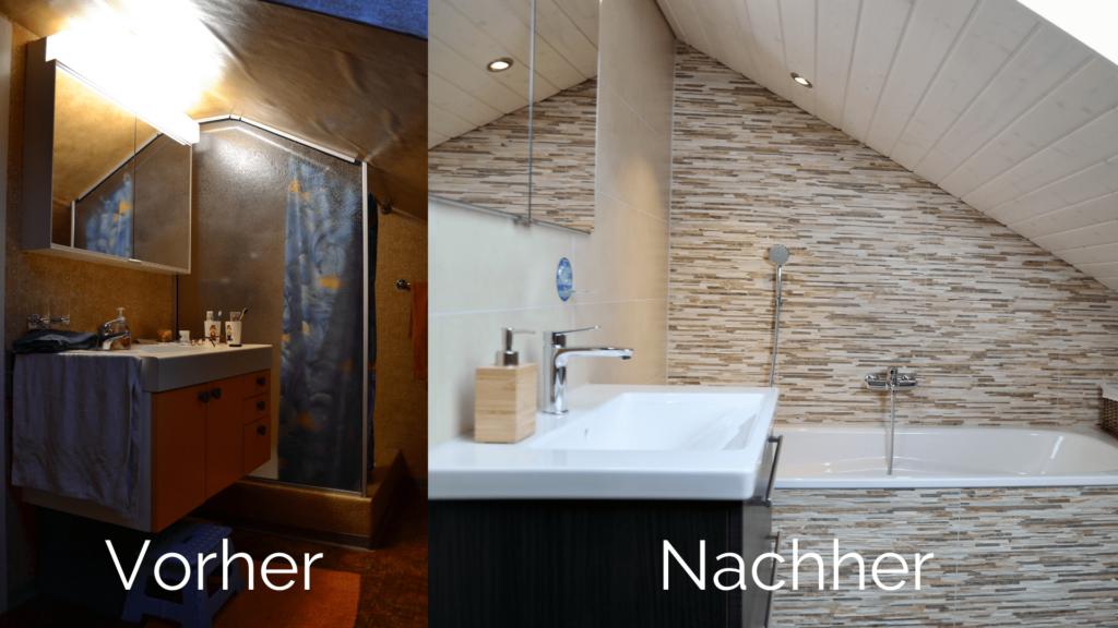 Vorher/Nachherbild des Badezimmer-Umbau von Herrn Cozzio