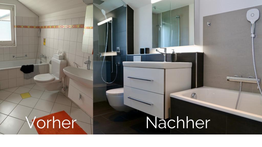 Vorher/Nachherbild des Badezimmer-Umbau von Frau Siegenthaler