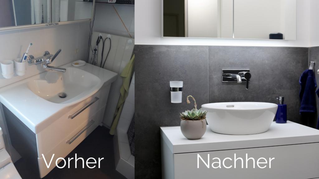 Vorher/Nachherbild des Badezimmer-Umbau von Frau Stöckli